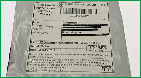Image of envelope with Taiwan postage on it