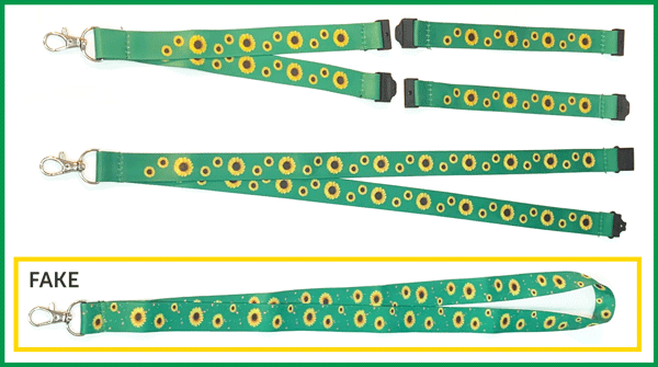 Two Sunflower lanyards and a counterfeit one
